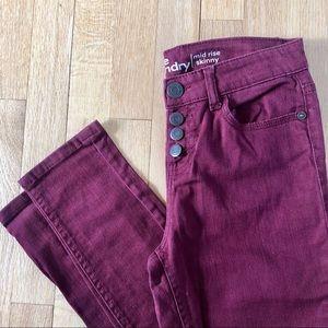 Hippie Laundry burgundy Mid Rise Skinny Jeans